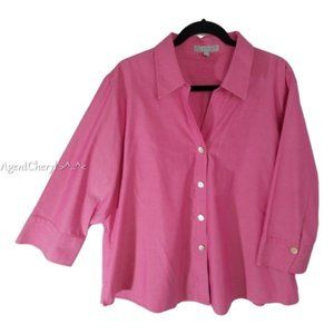 FOXCROFT Sz 22W Non Iron Shaped Fit Spring Blouse